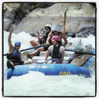 Whitewater rafting is great exercise, but maybe not in this picture.