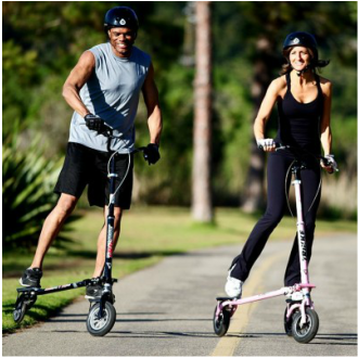 Trikke is a three-wheeled perpetual motion skooter.